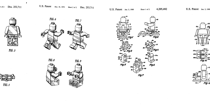 Lego Patents filed by Godtfred K. Christiansen and Jens N. Knudsen