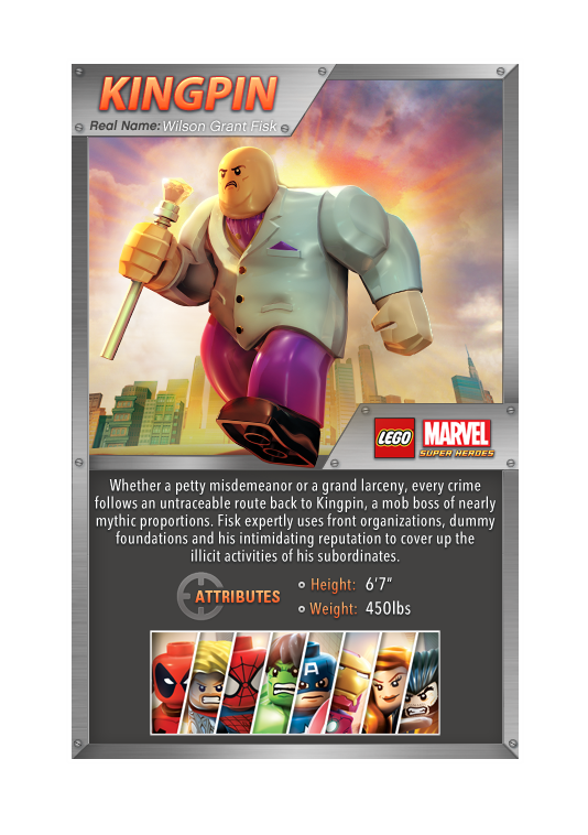 Lego Super Heroes Kingpin Fact Card