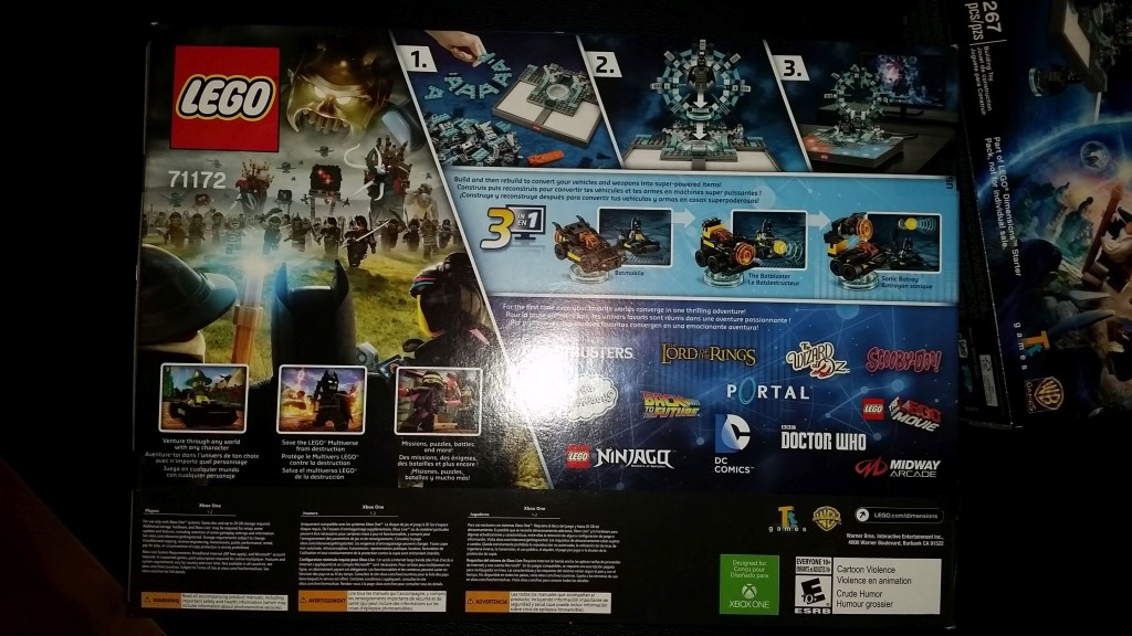 Lego Dimensions XBOX One Back of Box Starter pack