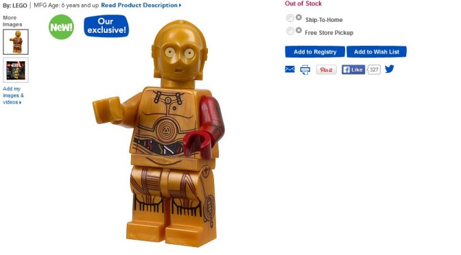 LEGO Star Wars C-3PO Figure 5002948 Posted to US Toys R Us site