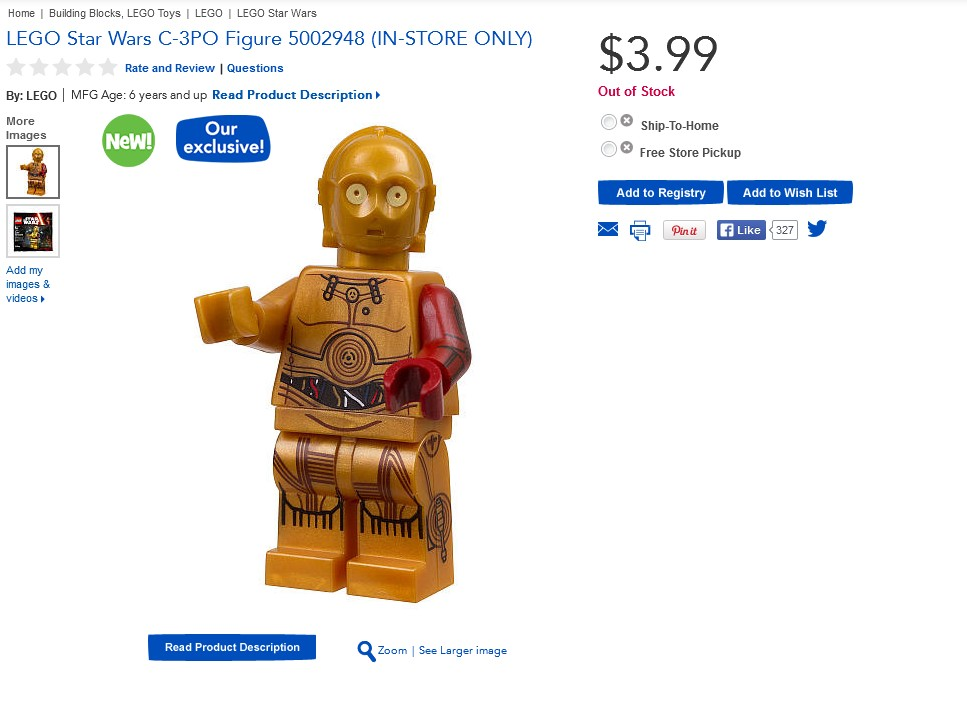 LEGO Star Wars Red Arm C-3PO Figure 5002948