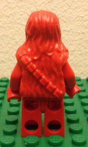 lego red chewbacca prototype minifigure from billund back