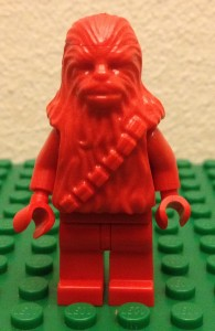 lego red chewbacca prototype minifigure from billund front