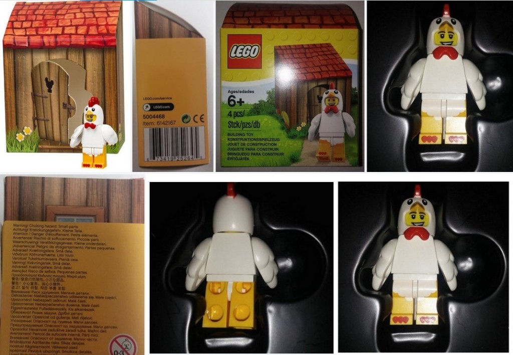 Lego Chicken Suit Guy Easter Promotional Figure Picture Collage