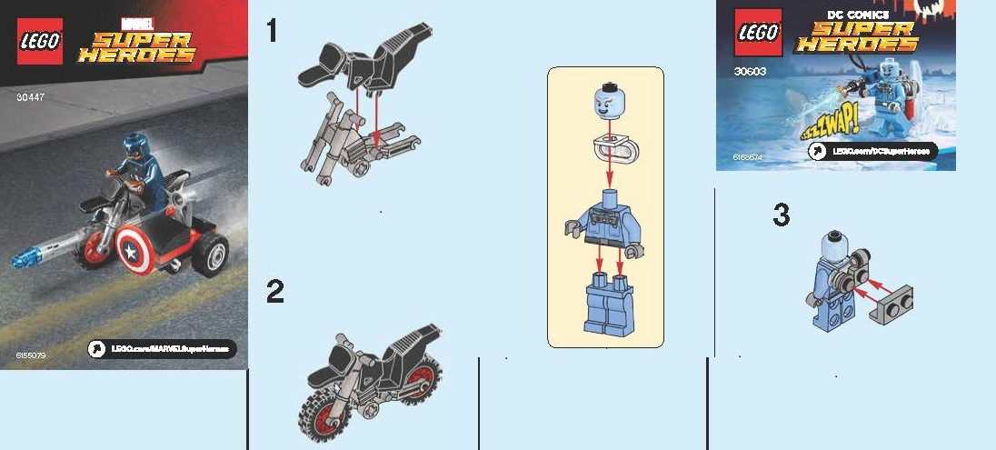 Lego 30603 Mr Freeze And 30447 Captain America Polybag Instructions