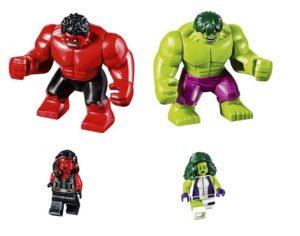 Lego Marvel Hulk and She Hulk vs Red Hulk and Red She Hulk - Copy