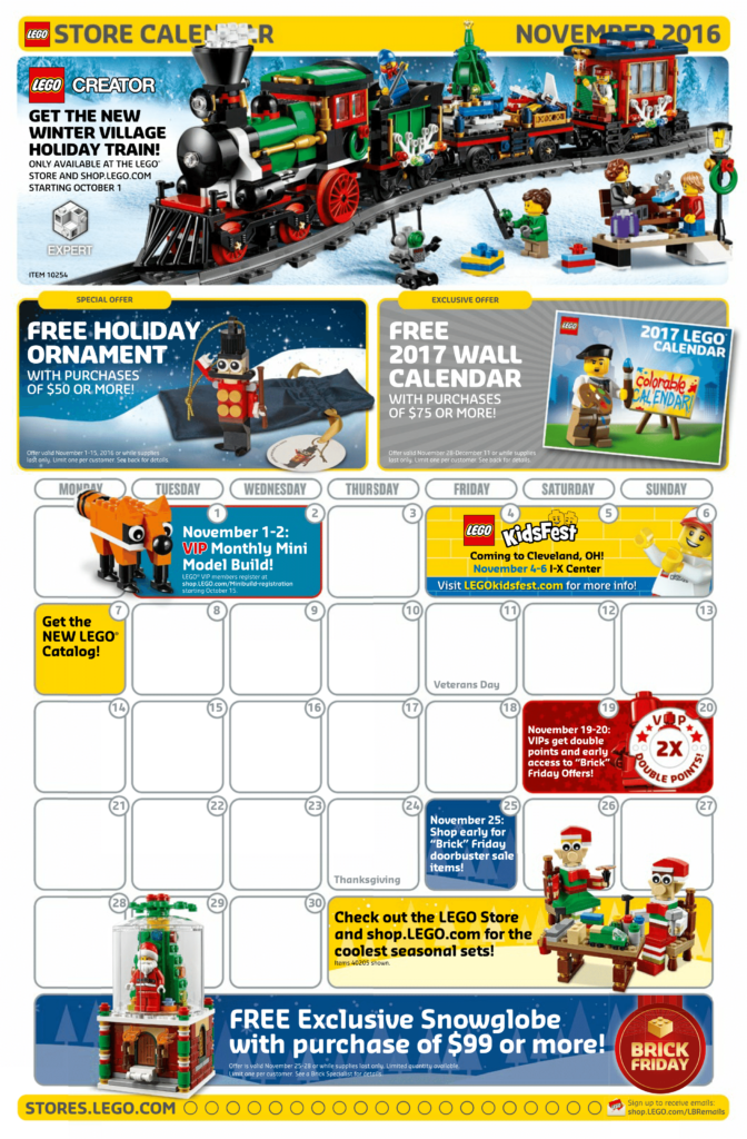 November Store Calendar posted | Minifigure Price Guide