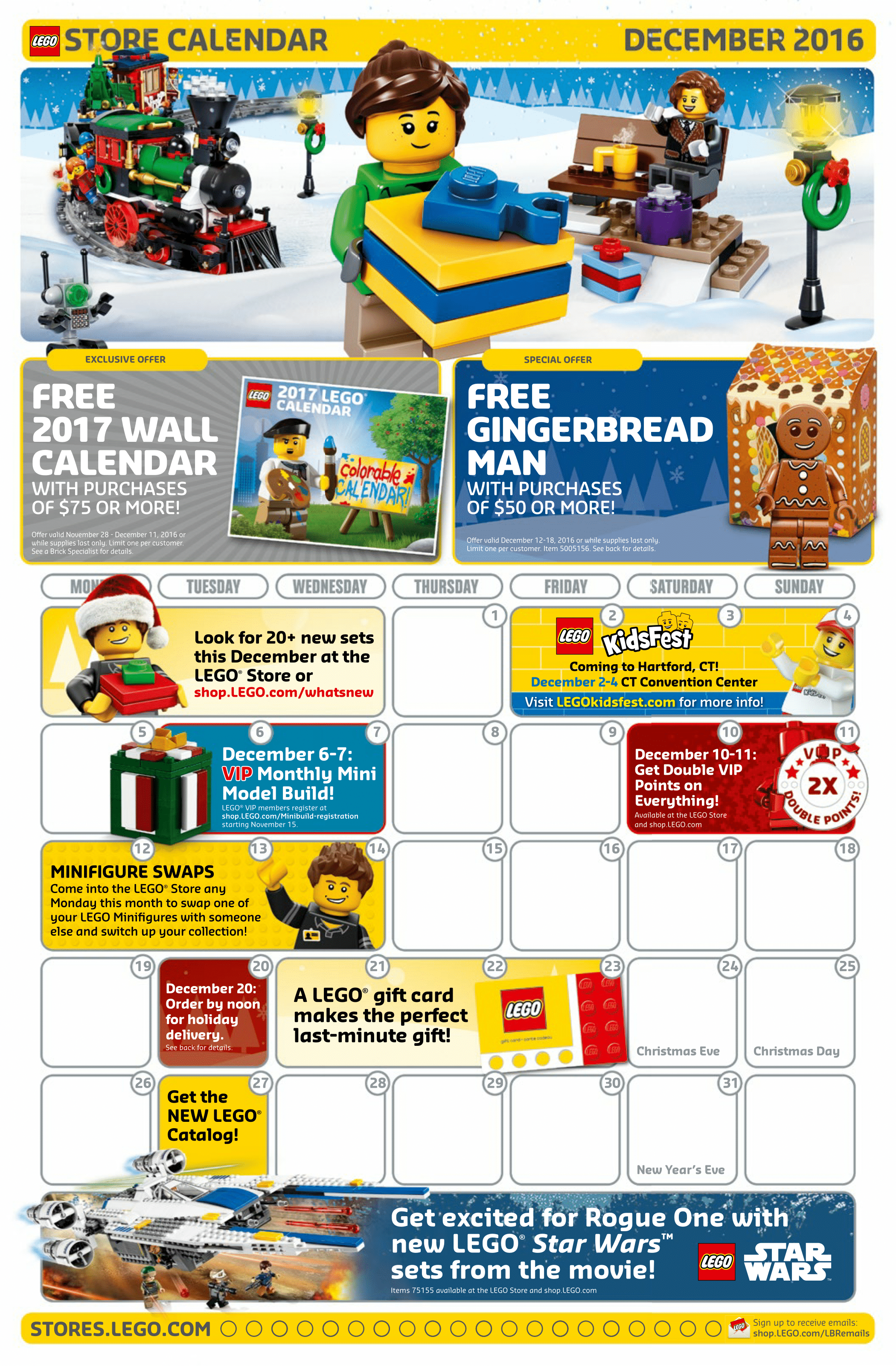 Lego December 2016 Store Calendar is posted   Minifigure Price Guide