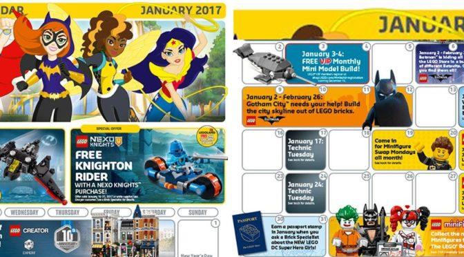 January 2017 Calendar has surfaced today.  Batman Movie and Assembly Square are the big items
