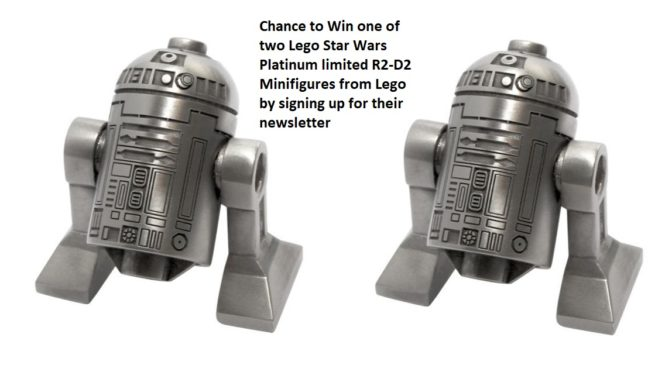 Chance to win a Lego Star Wars Platinum R2-D2 Limited Edition Minifigure Rare and Exclusive