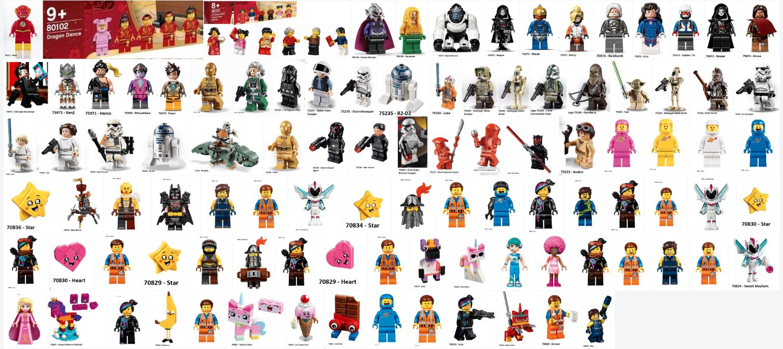 121ish 2019 lego minifigures from all the licensed sets. Black Bedroom Furniture Sets. Home Design Ideas